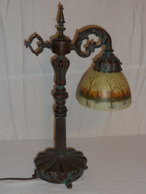 BRONZE PATINA TABLE LAMP REVERSE PAINTED SHADE