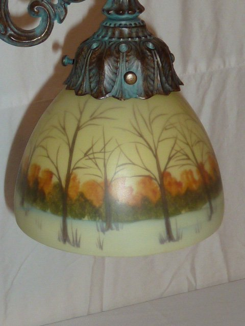 BRONZE PATINA TABLE LAMP REVERSE PAINTED SHADE - 2
