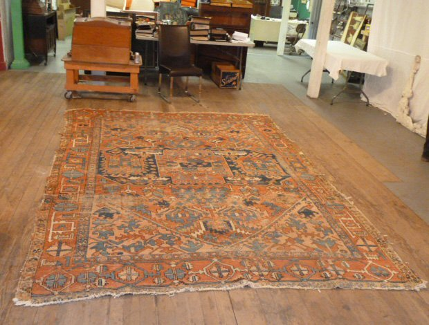 ANTIQUE HAND KNOTTED WOOL CARPET WELL WORN