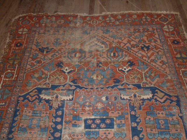 ANTIQUE HAND KNOTTED WOOL CARPET WELL WORN - 2