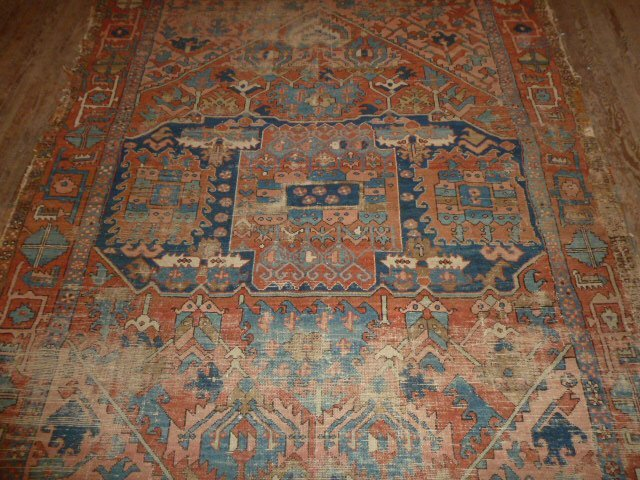 ANTIQUE HAND KNOTTED WOOL CARPET WELL WORN - 3