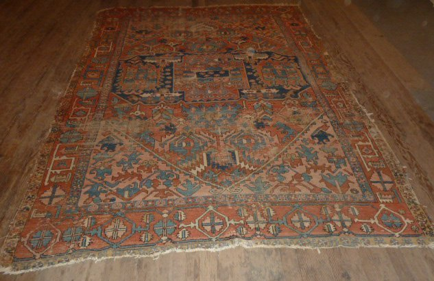 ANTIQUE HAND KNOTTED WOOL CARPET WELL WORN - 4