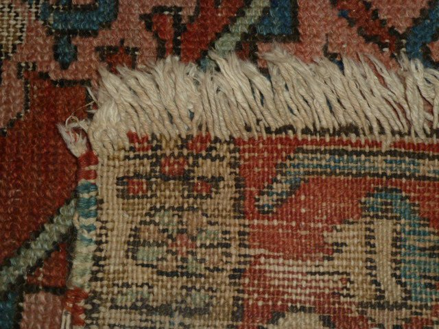 ANTIQUE HAND KNOTTED WOOL CARPET WELL WORN - 5