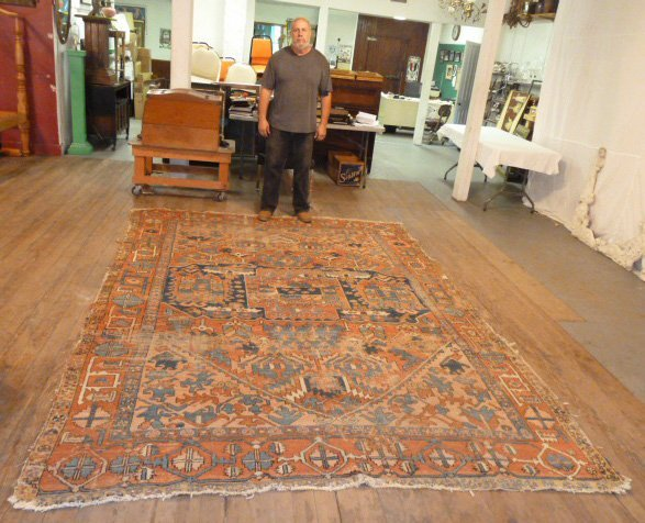 ANTIQUE HAND KNOTTED WOOL CARPET WELL WORN - 6