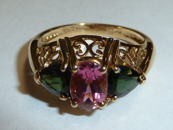 14KT GOLD RING W/ PINK & GREEN TOURMALINE STONES