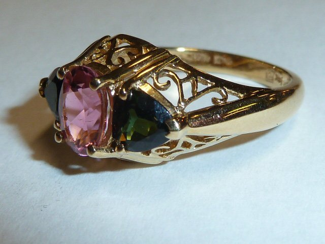 14KT GOLD RING W/ PINK & GREEN TOURMALINE STONES - 2