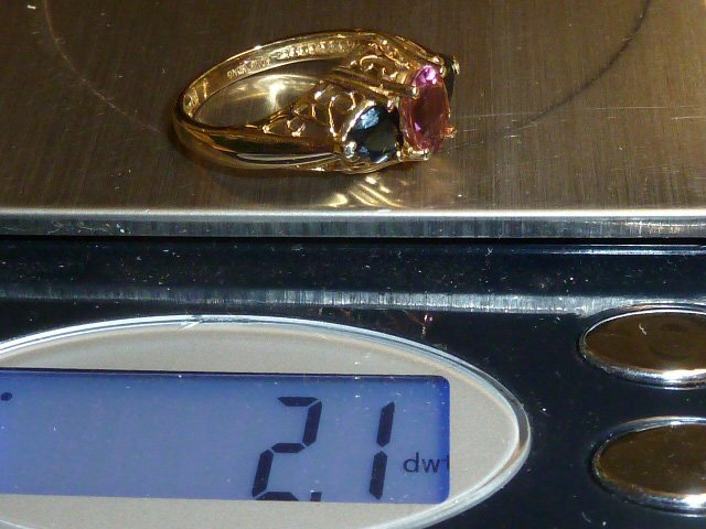 14KT GOLD RING W/ PINK & GREEN TOURMALINE STONES - 3