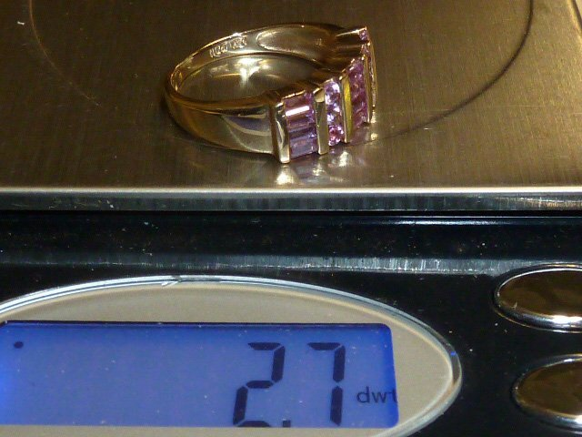 14KT GOLD WOMAN'S RING W/ PINK SAPPHIRES - 3