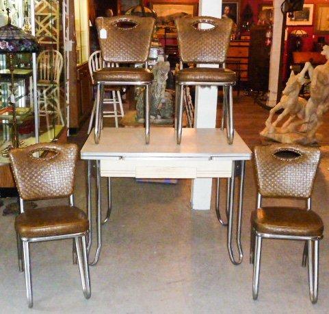ART DECO PORCELAIN TABLE 4 CHAIRS