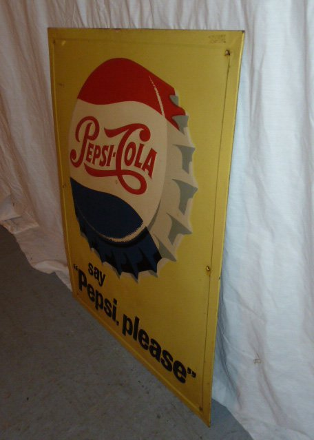 PEPSI COLA 1960'S EMBOSSED ADVERTISING SIGN - 2