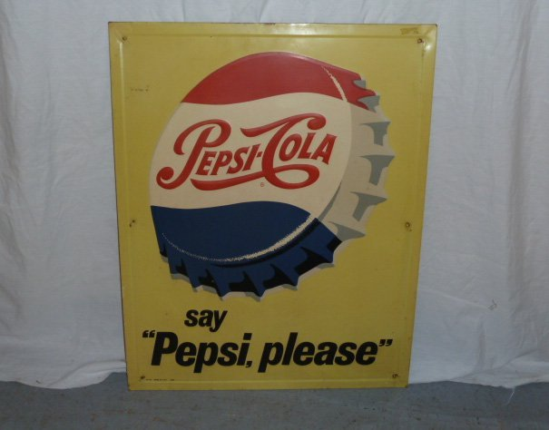 PEPSI COLA 1960'S EMBOSSED ADVERTISING SIGN - 4