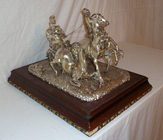 ROMAN CHARIOT W/4 HORSES SCULPTURE SILVER CLAD