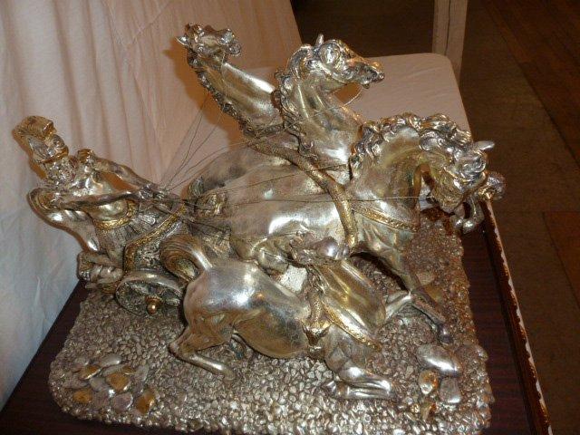 ROMAN CHARIOT W/4 HORSES SCULPTURE SILVER CLAD - 2