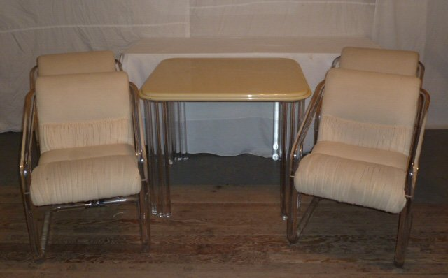 MID-CENTURY LION IN FROST LUCITE TABLE & 4 CHAIRS - 4