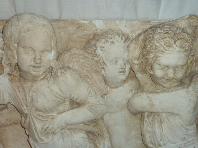 2 VINTAGE PLASTER FRIEZES 10 WINGED ANGELS - 5
