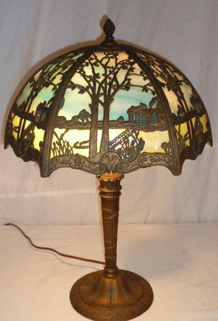 CIRCA 1900 2 COLOR SLAG GLASS OVERLAY TABLE LAMP