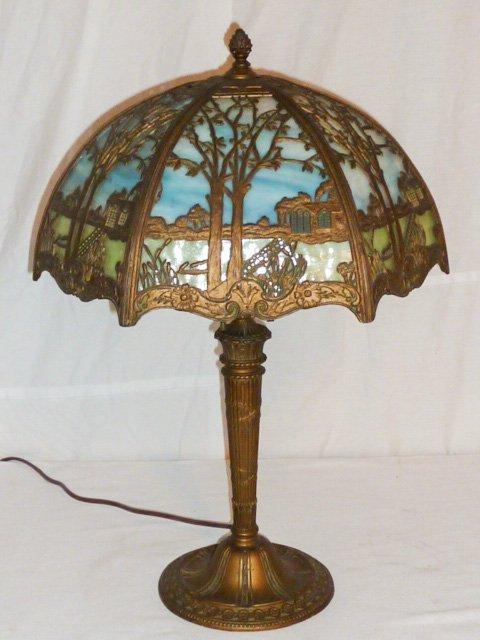 CIRCA 1900 2 COLOR SLAG GLASS OVERLAY TABLE LAMP - 2