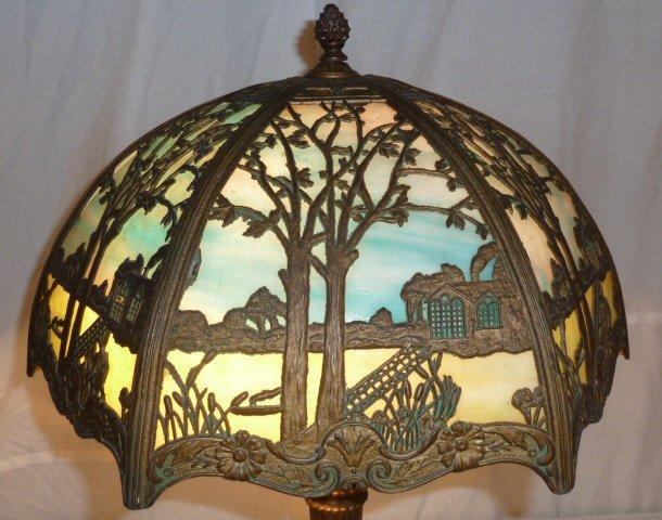 CIRCA 1900 2 COLOR SLAG GLASS OVERLAY TABLE LAMP - 3