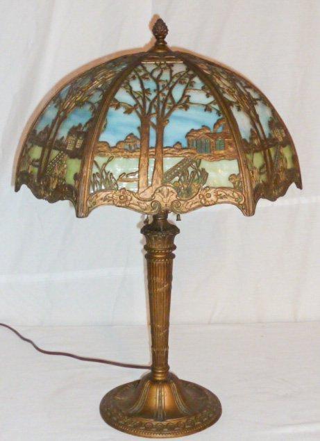 CIRCA 1900 2 COLOR SLAG GLASS OVERLAY TABLE LAMP - 4