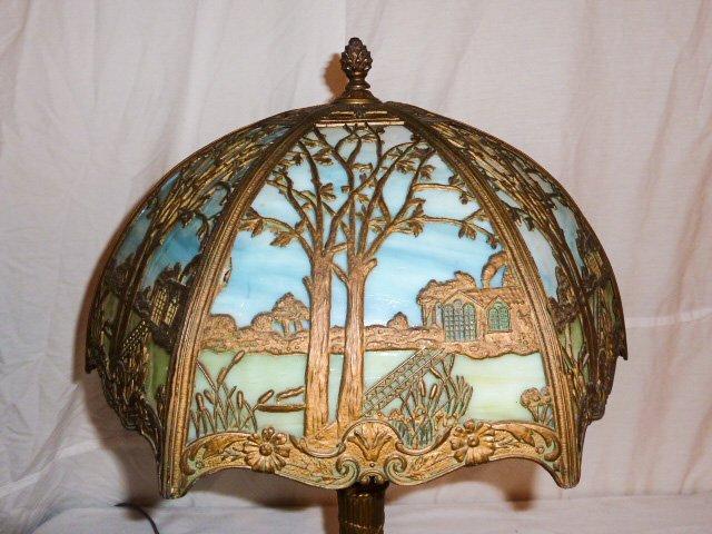 CIRCA 1900 2 COLOR SLAG GLASS OVERLAY TABLE LAMP - 5