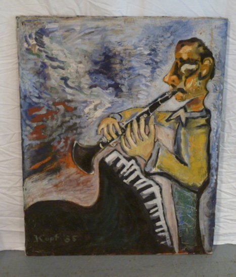 OIL ON CANVAS CLARINETTE PLAYER SIGNED KUPF 85