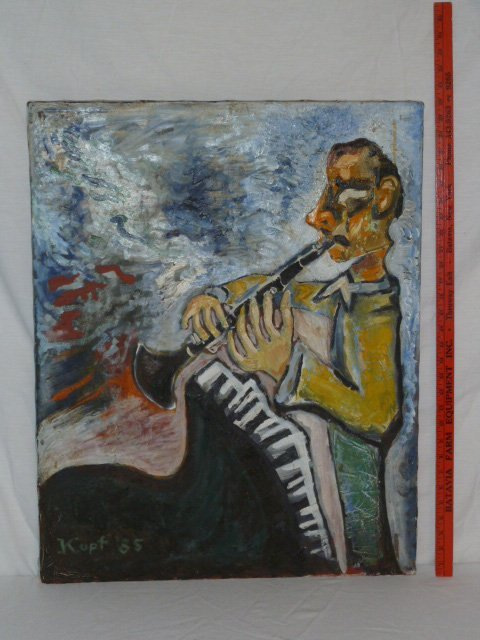 OIL ON CANVAS CLARINETTE PLAYER SIGNED KUPF 85 - 5
