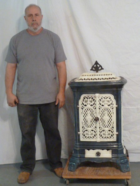 C1900 ORNATE PORCELAIN OVER CAST IRON WOOD STOVE