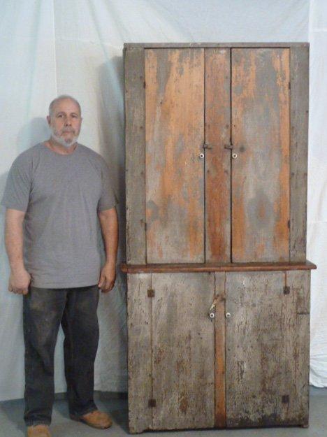 CIRCA 1840 4 DOOR STEPBACK CUPBOARD