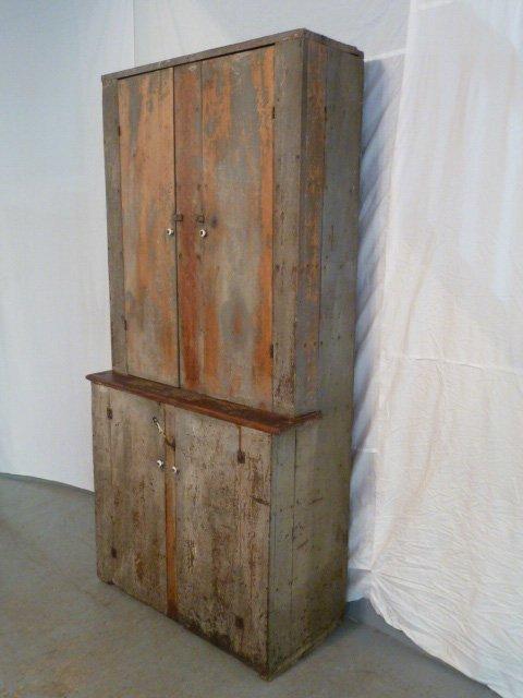 CIRCA 1840 4 DOOR STEPBACK CUPBOARD - 2