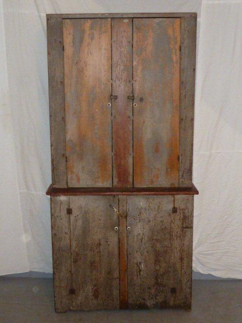 CIRCA 1840 4 DOOR STEPBACK CUPBOARD - 4