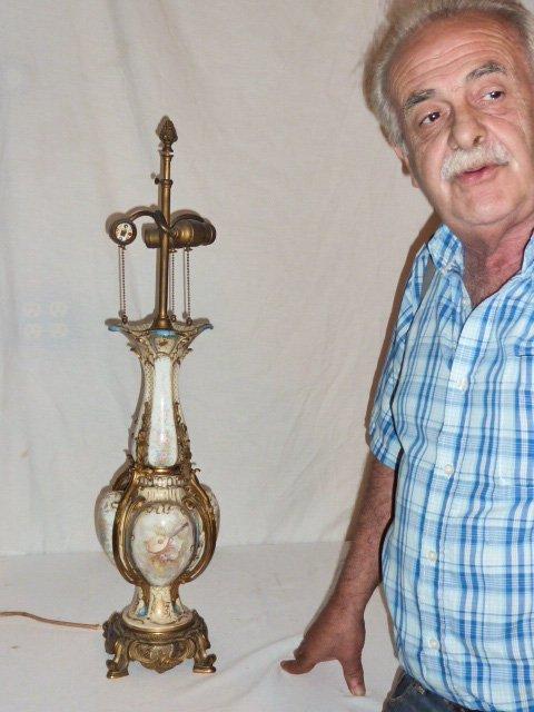 ANTIQUE SEVRES BRONZE MOUNTED LAMP CLOISONNE BASE