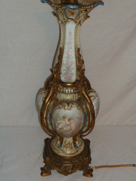 ANTIQUE SEVRES BRONZE MOUNTED LAMP CLOISONNE BASE - 2