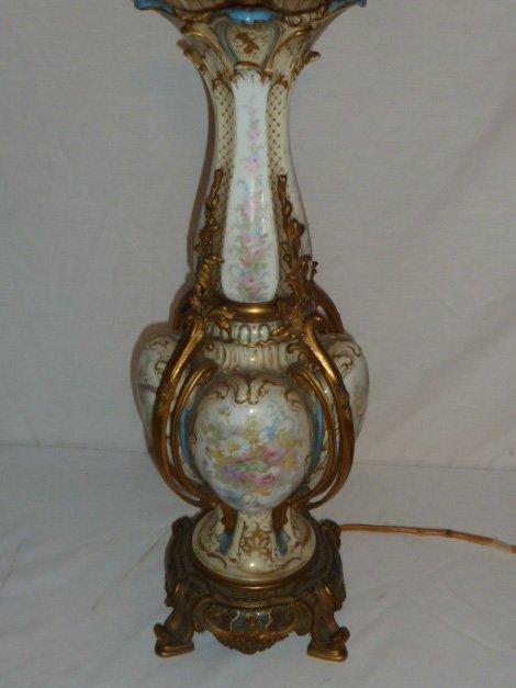 ANTIQUE SEVRES BRONZE MOUNTED LAMP CLOISONNE BASE - 3