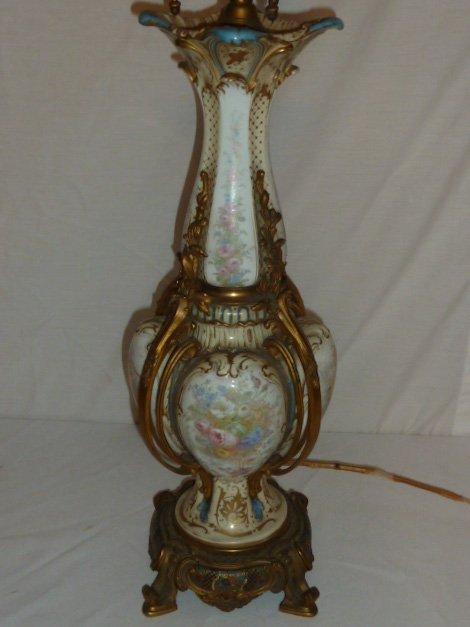 ANTIQUE SEVRES BRONZE MOUNTED LAMP CLOISONNE BASE - 5