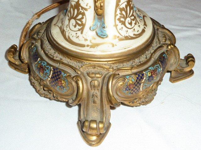 ANTIQUE SEVRES BRONZE MOUNTED LAMP CLOISONNE BASE - 7