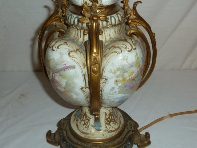 ANTIQUE SEVRES BRONZE MOUNTED LAMP CLOISONNE BASE - 8