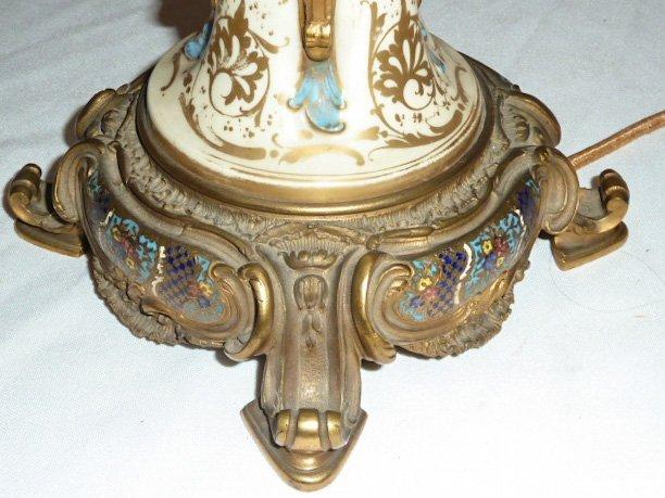 ANTIQUE SEVRES BRONZE MOUNTED LAMP CLOISONNE BASE - 9