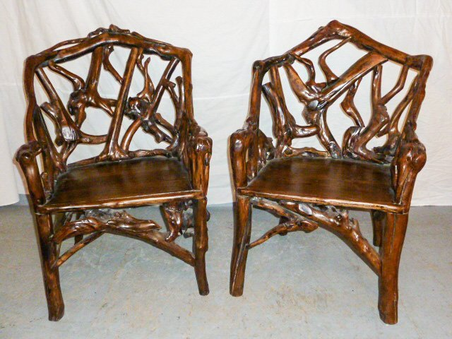 PAIR OF GNARLY ROOT ARM CHAIRS PLANK SEAT