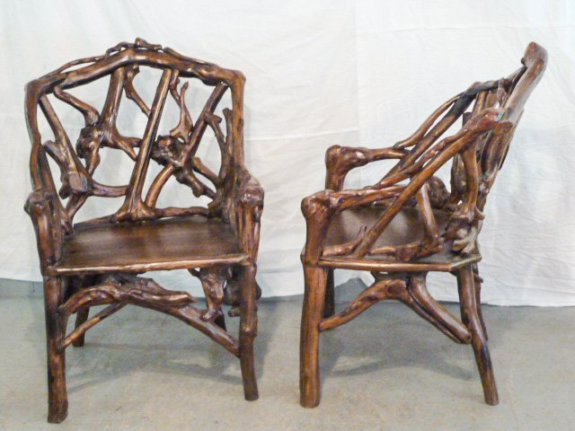 PAIR OF GNARLY ROOT ARM CHAIRS PLANK SEAT - 2
