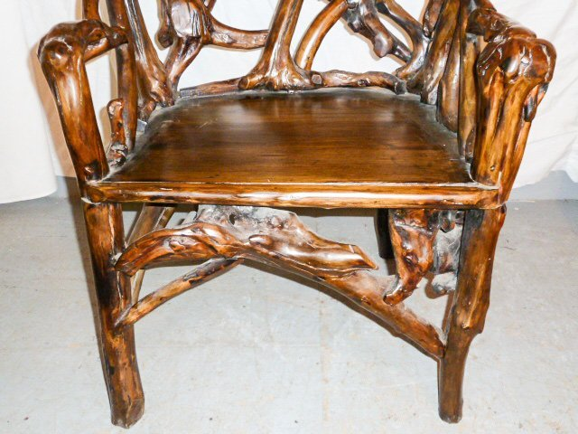 PAIR OF GNARLY ROOT ARM CHAIRS PLANK SEAT - 4