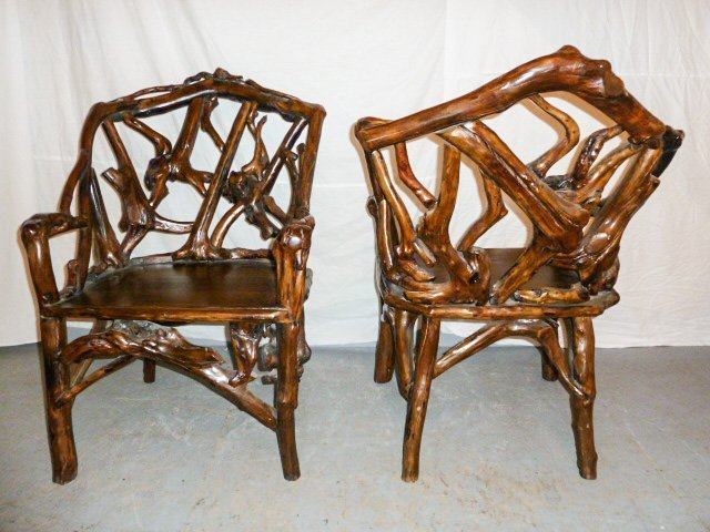 PAIR OF GNARLY ROOT ARM CHAIRS PLANK SEAT - 5