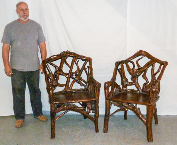 PAIR OF GNARLY ROOT ARM CHAIRS PLANK SEAT - 6