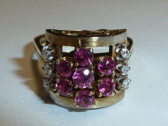 1930'S 14KT RETRO RING RUBIES & DIAMONDS
