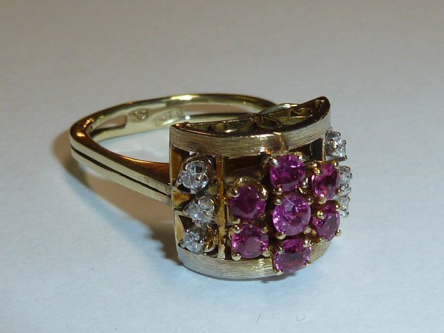 1930'S 14KT RETRO RING RUBIES & DIAMONDS - 2