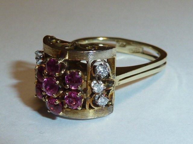 1930'S 14KT RETRO RING RUBIES & DIAMONDS - 3