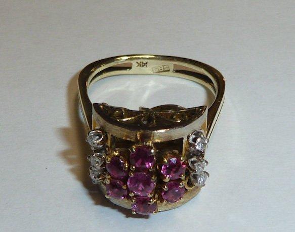 1930'S 14KT RETRO RING RUBIES & DIAMONDS - 4