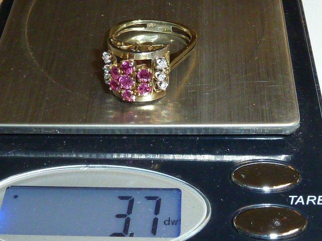 1930'S 14KT RETRO RING RUBIES & DIAMONDS - 5