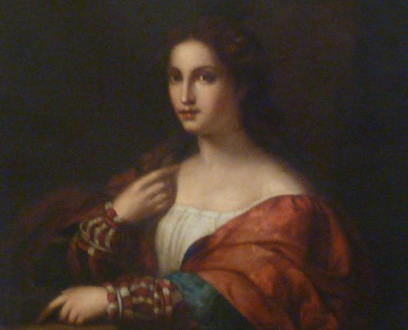 19TH C O/C PORTRAIT WOMAN WEARING A PAISLEY THROW - 3