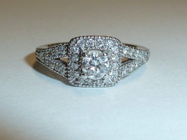14KT DIAMOND RING 1/4 CT RAISED CENTER STONE - 2