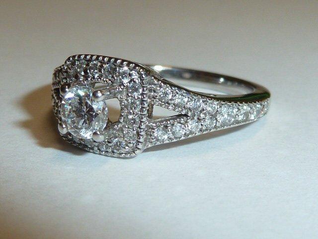 14KT DIAMOND RING 1/4 CT RAISED CENTER STONE - 3